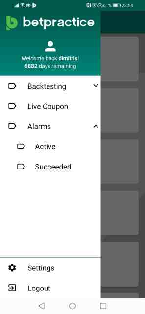 Betpractice android app football active alarms notifications how to guide step 1