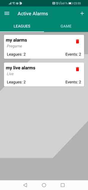 Betpractice android app football active alarms notifications how to guide step 2