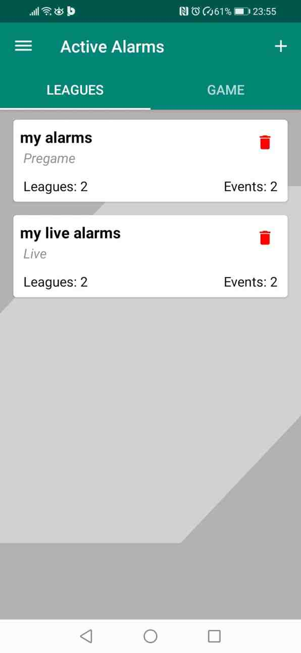 Betpractice android app football active alarms notifications how to guide step 5