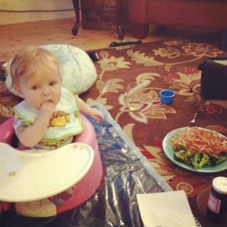 spaghetti picnic on the living room floor