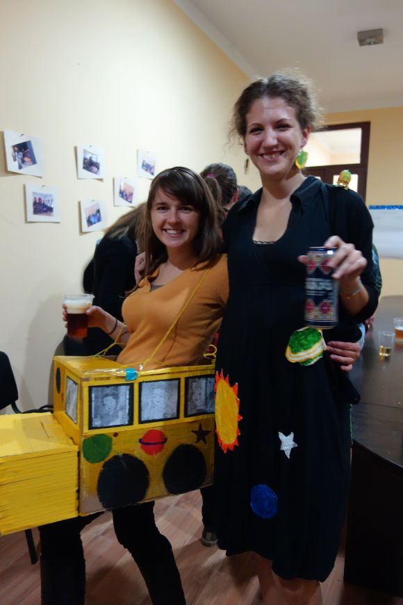 Ms. Frizzle and the Magic School Bus at our Halloween party.