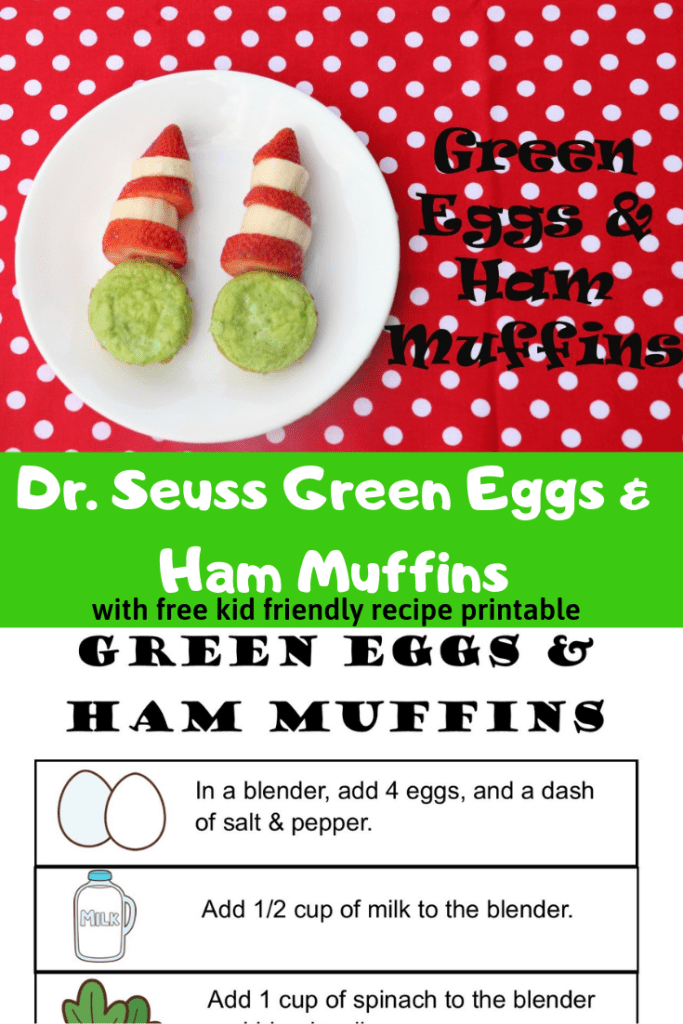 Celebrate Dr. Seuss and Read Across America Day with these Green Eggs and Ham muffins. Download the free printable recipe for kids.