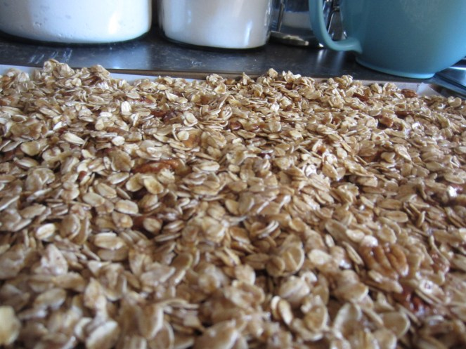 Make sure the granola is spread out in an even layer.