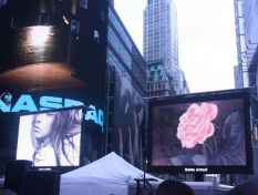 "Painting ""Gold Rose"" displayed in Art takes Times Square (NYC)"