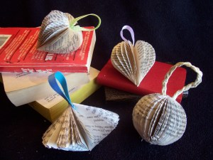 christmas book ornaments