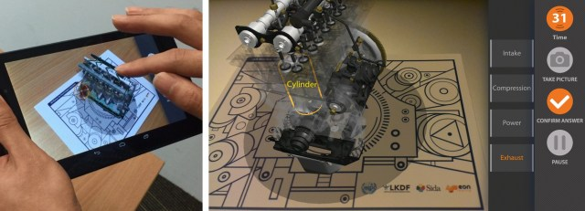 Fig 6. Simple VR/AR technology for teaching diesel engine maintenance (Photos: EON Reality)
