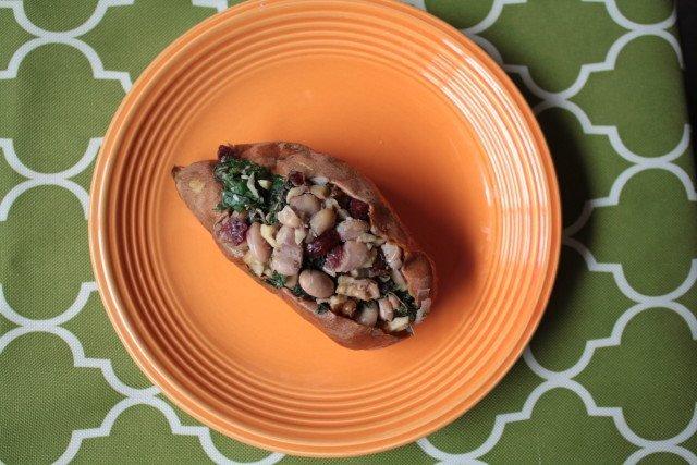 White Bean, Cranberry & Kale Stuffed Sweet Potatoes