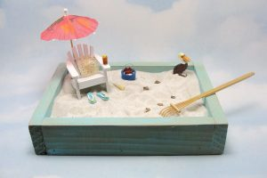 blue mini beach garden flip flops