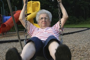 grandmother on a swing