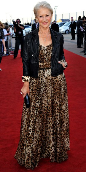 helen-mirren-in-a-leopard-dolce-gabbana-maxi-dress-with-a-leather-biker-jacket