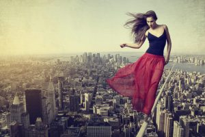 woman on tightrope, hire wire