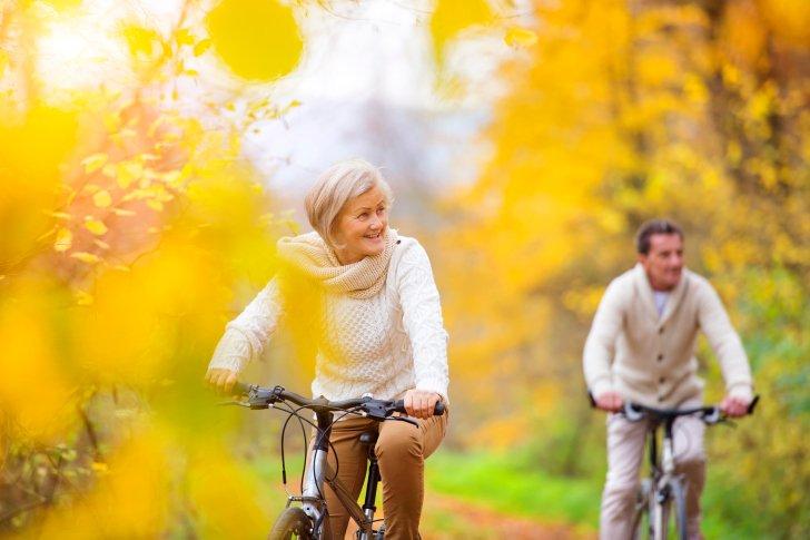 Active seniors riding bikes