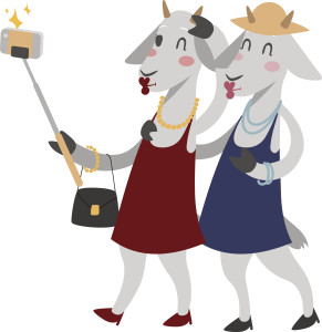 goat girls with selfie stick