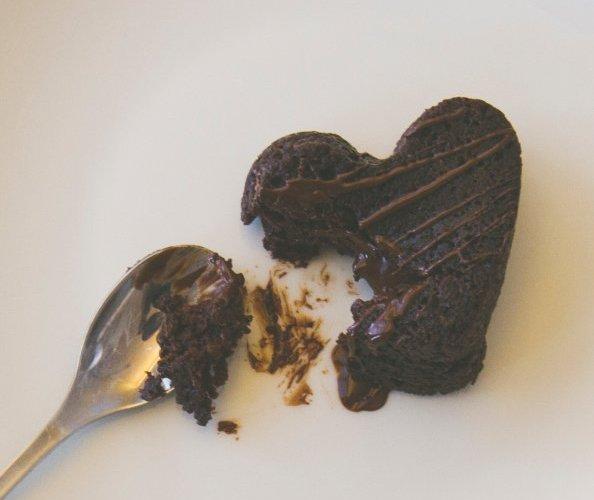 Broken chocolate heart cake