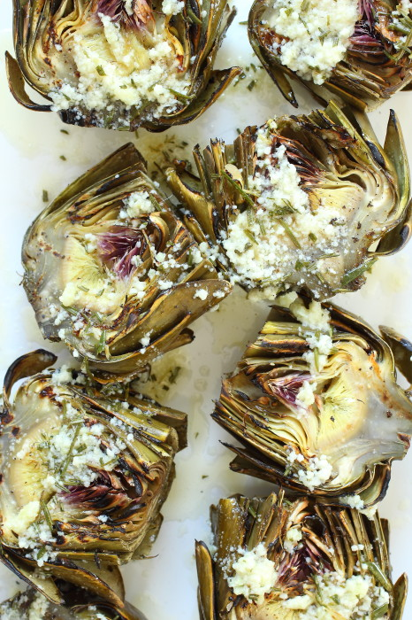 artichokes grilled with parmesan