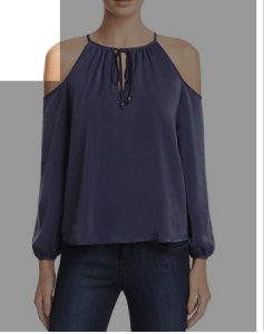 Aqua open shoulder blouse from Bloomingdales