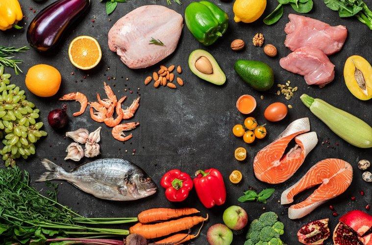 Paleo diet concept, copy space, top view