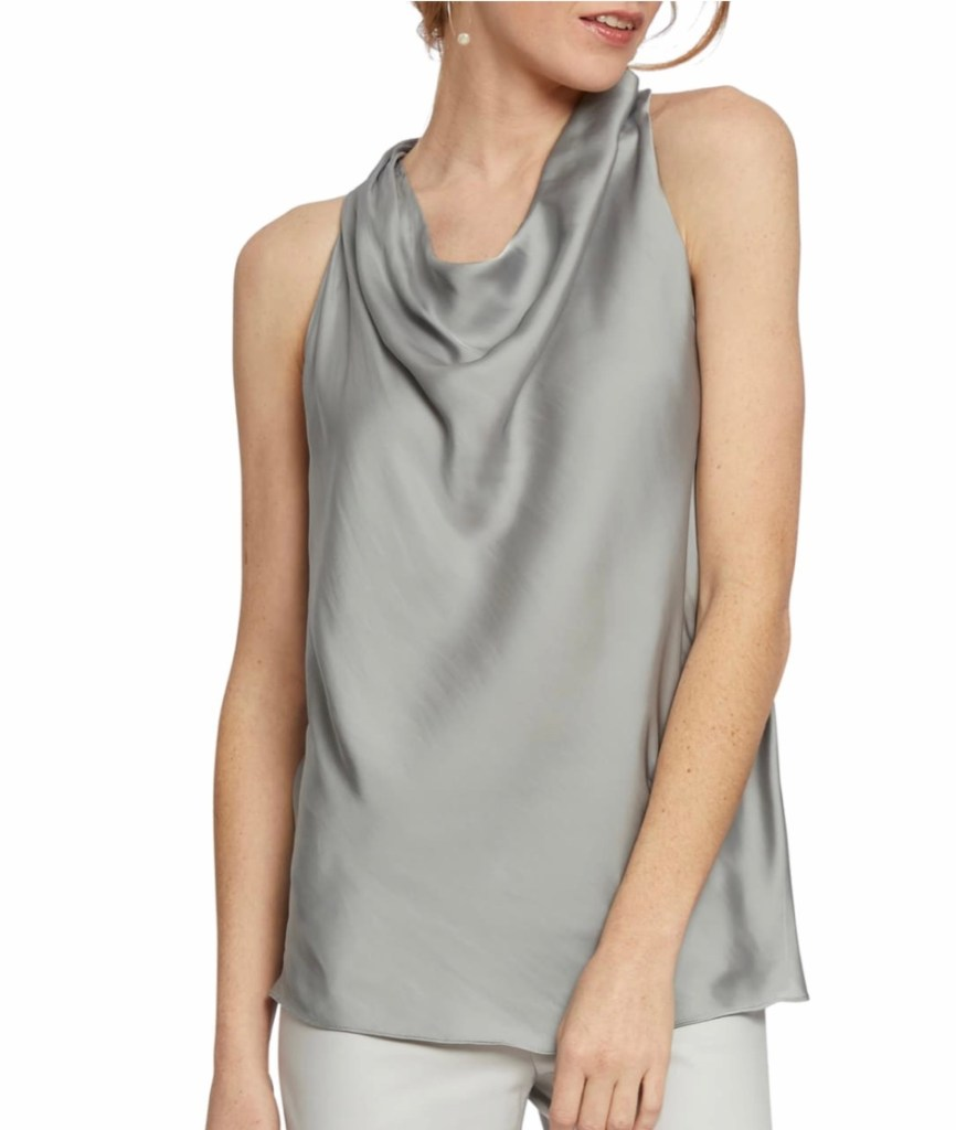 73b3d400bd38f9 Feel sexy in the most elegant way in the Nic + Zoe Destination Cowl Neck  Tank. The silky tank with draped cowl neck will beautiful frame your face.