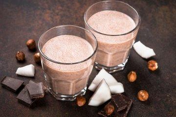 Chocolate coconut hazelnut milkshake or smoothie.