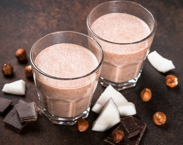 Chocolate coconut hazelnut milkshake or smoothie.