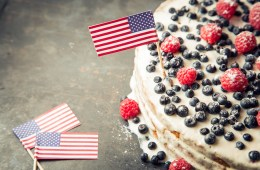 American flag cake with blueberry and raspberry