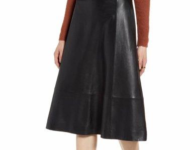 Halogen A Line Leather Midi Skirt $179.40