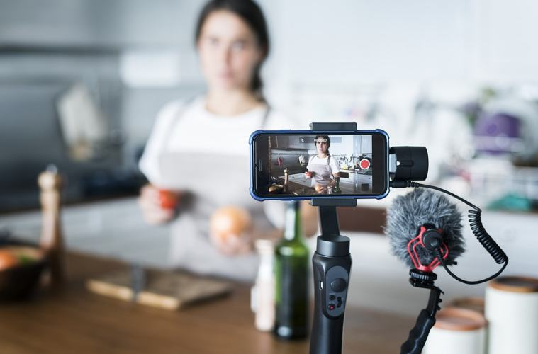 Influencer filming video