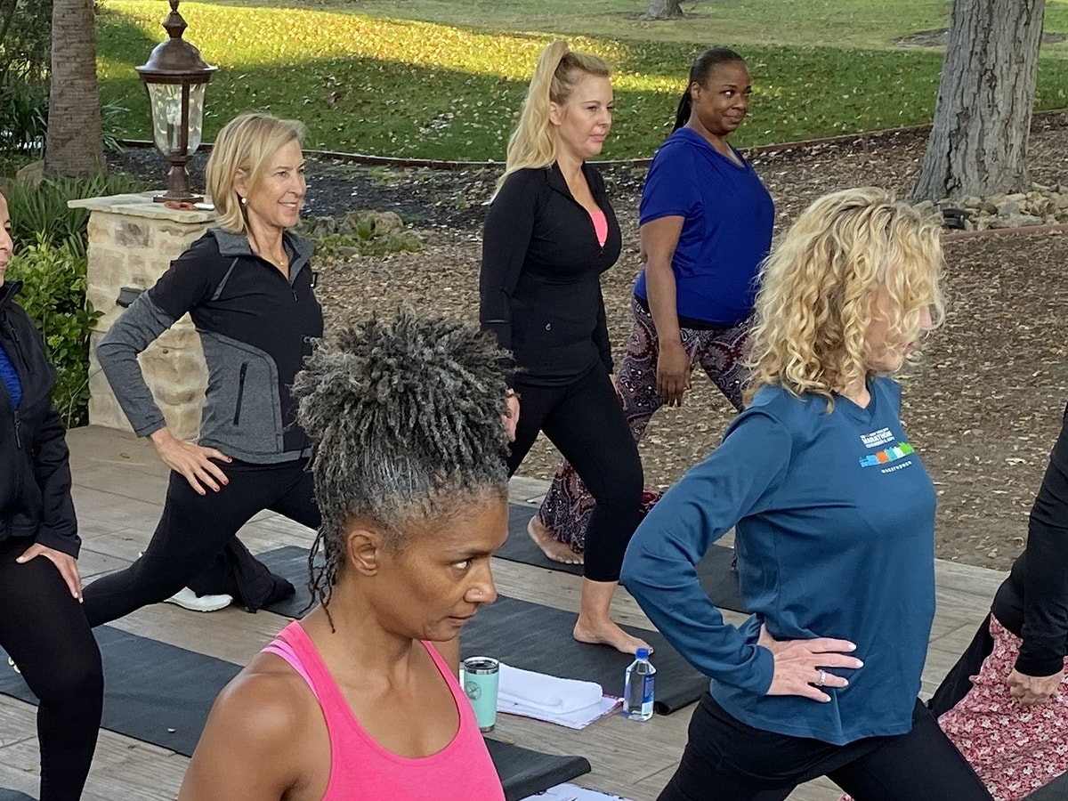 Group yoga session outside
