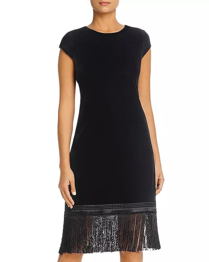 Elie Tahari Velvet Tassel-Hem Dress