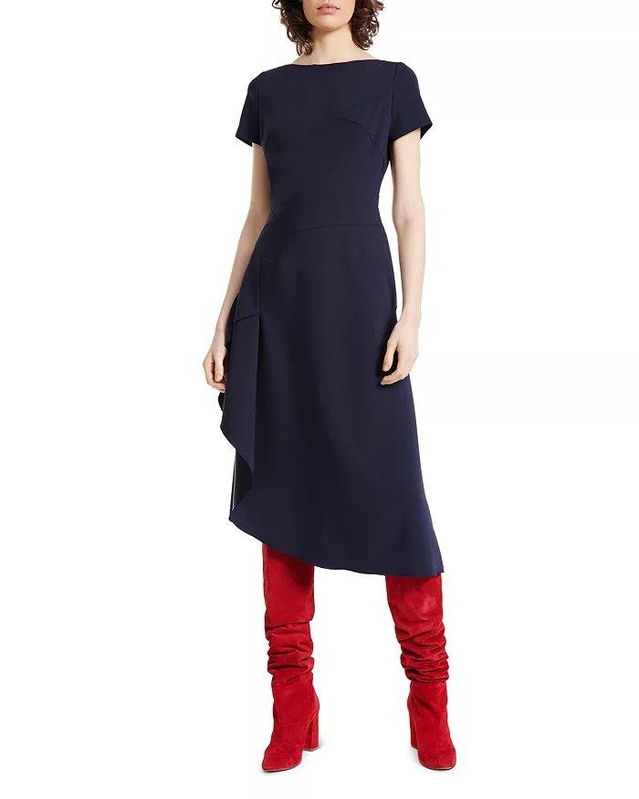 PAULE KA Crepe-Backed Asymmetric Midi Dress