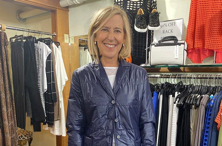 Felice modeling blue jacket