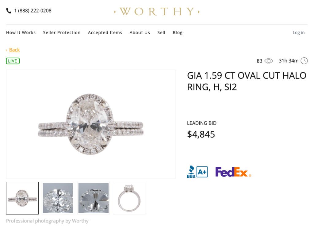 Live diamond ring auction on Worthy.com
