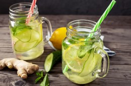 Fresh cucumber, lemon, ginger and mint drink