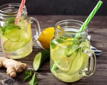 Fresh cucumber, lemon, ginger and mint drink