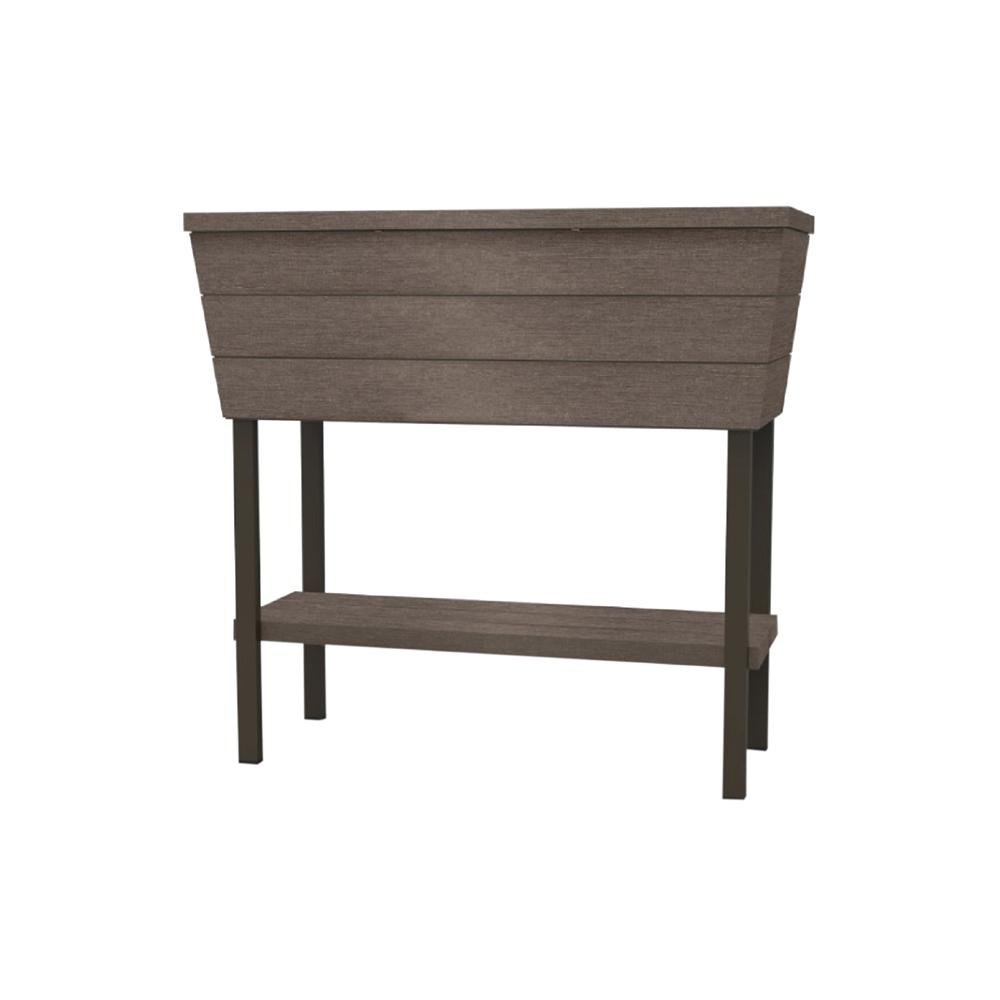 Urban Bloomer 32.3 in. W x 30.7 in. H Brown Resin Raised Garden Bed