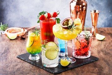 Set of summer alcoholic cocktails, popular bright refreshing alc