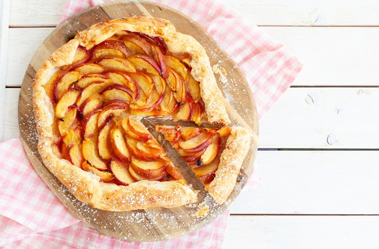Peach Pie made with puff pastry