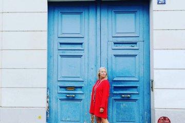 Giant blue door in Paris