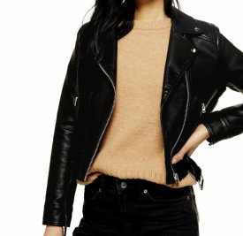 TopShop Kota Crop Faux Leather Jacket $47.50