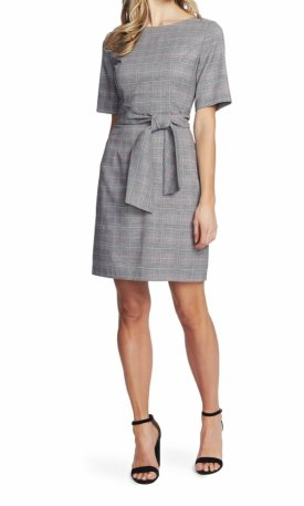 Cece Plaid Tie Front Sheath Dress $139.00