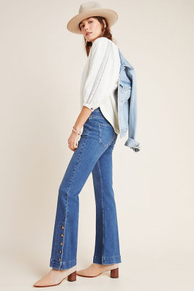 Pilcro Button-Hem High-Rise Bootcut Jeans