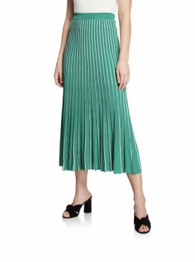 ASTR Yuri Striped Pleated Midi Skirt