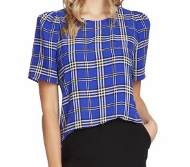 Vince Camuto Highland Plaid Short Sleeve Blouse $89.00