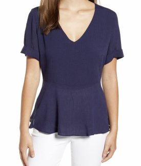 Gibson X The Motherchic Sonoma V Neck Woven Peplum Top $56.00
