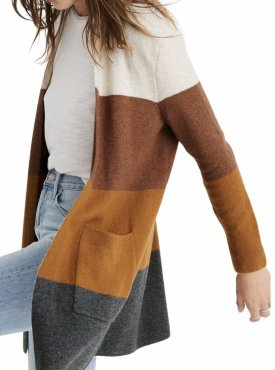 Madewell Kent Colorblock Long Cardigan $98.00