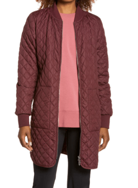 Longline Quilted Bomber Jacket $109.90