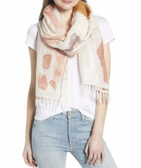 Nordstrom Painted Linen Blend Scarf $39.00