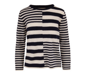 JUMPER 1234 Cream and Navy Cashmere Sweater