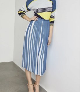 Two Tone Pleated Midi Skirt