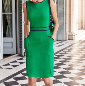 Sabrina Ponte Shift Dress – Rich Emerald